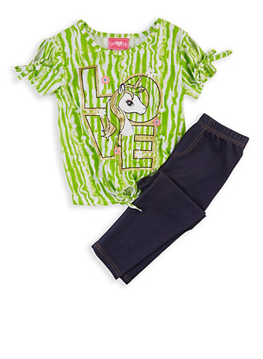 Girls 7-16 Love Unicorn Tee with Jeggings,LIME,large
