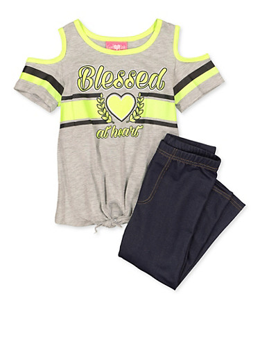Girls 4-16 Blessed at Heart Cold Shoulder Top and Jeggings,HEATHER,large