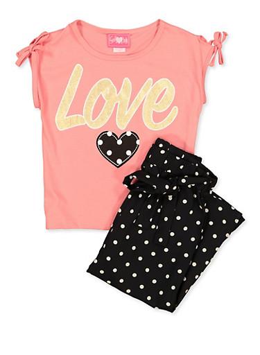 Girls 7-16 Love Graphic Top and Polka Dot Pants,PINK,large
