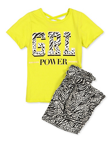 Girls 7-16 Grl Power Top with Zebra Print Pants,LIME,large