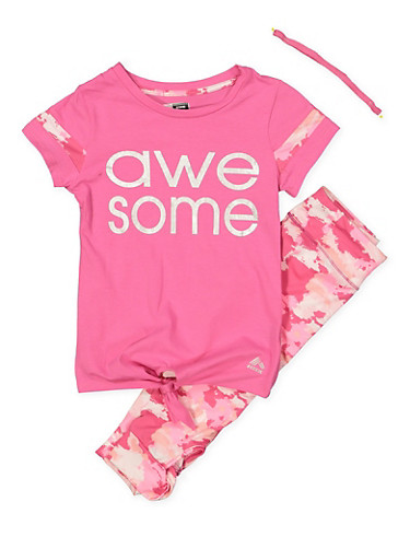 Girls 7-16 Awesome Activewear Tee with Leggings and Headband,FUCHSIA,large