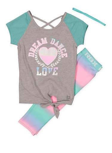 Girls 7-16 Dream Dance Love Activewear Tee with Leggings and Headband,MINT,large
