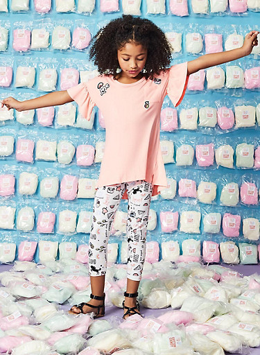 Girls 7-16 Graphic Patch Tee and Leggings,CORAL,large