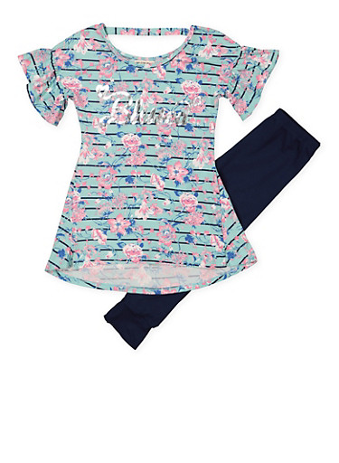 Girls 7-16 Striped Floral Top with Leggings,MINT,large