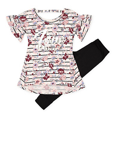 Girls 7-16 Floral Love Graphic Top and Leggings,WHITE,large
