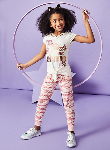 Girls 7-16 Foil Graphic Top and Camo Joggers Set,IVORY,large