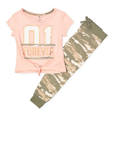 Girls 7-16 01 Forever Tee with Camo Joggers,BLUSH,large