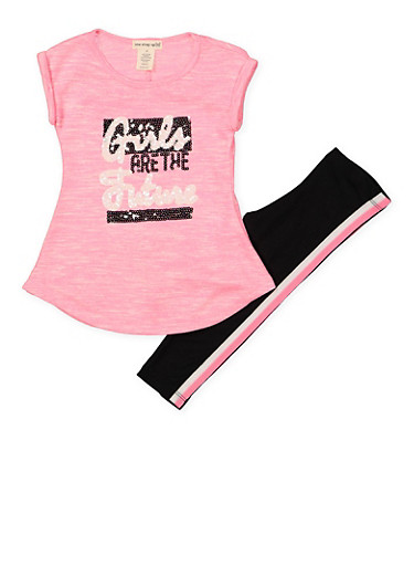 Girls 7-16 Sequin Graphic Top and Leggings Set,PINK,large