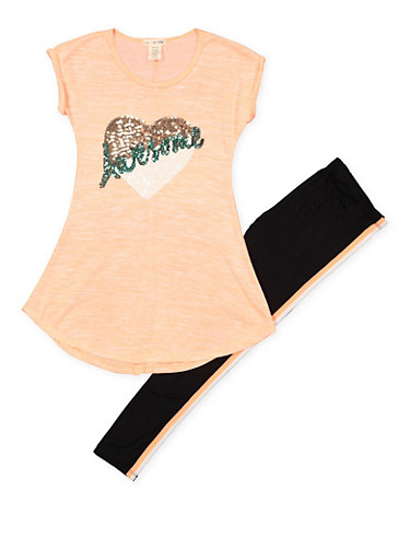 Girls 7-16 Awesome Sequin Tunic Top with Leggings,CORAL,large