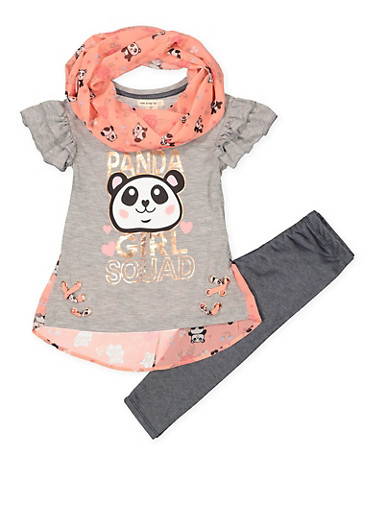 Girls 7-16 Panda Tee with Leggings and Infinity Scarf,HEATHER,large