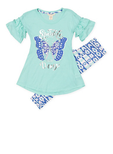 Girls 7-16 Foil Graphic Tunic Top with Leggings,MINT,large