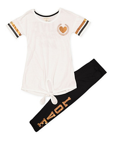 Girls 7-16 Tie Front Graphic Tee and Leggings Set,BLACK/WHITE,large