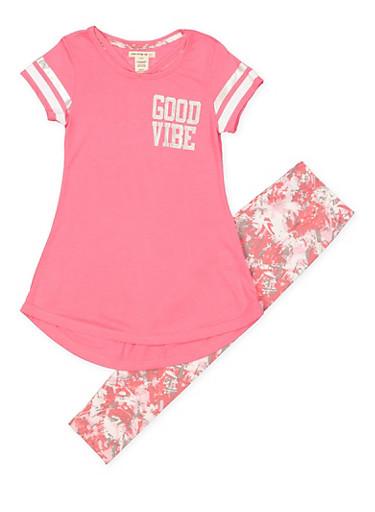 Girls 7-16 Good Vibe Tunic Top with Leggings,FUCHSIA,large