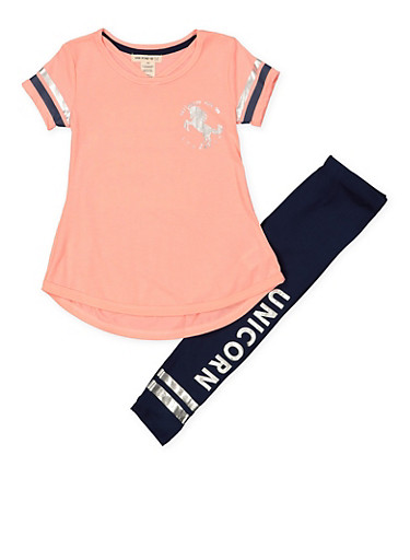 Girls 7-16 Unicorn Tunic Top and Leggings Set,CORAL,large