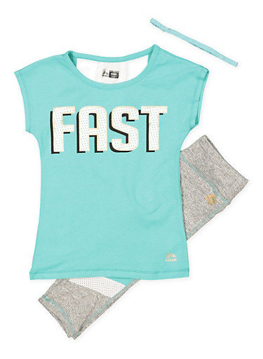 Girls 7-16 Fast Graphic Top with Active Leggings and Headband,MINT,large