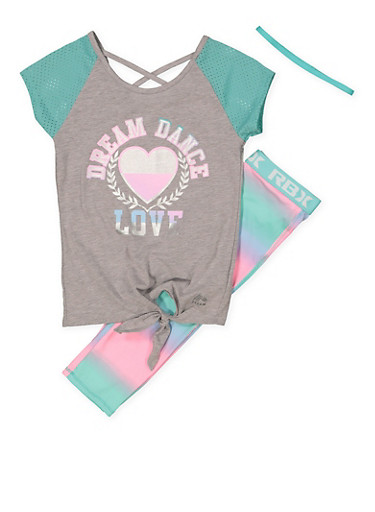 Girls 7-16 Dream Graphic Top with Active Leggings and Headband,MINT,large