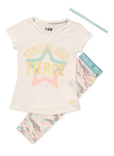 Girls 7-16 Graphic Top with Active Leggings and Headband,MINT,large