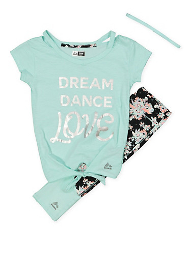 Girls 7-16 Graphic Tee with Activewear Leggings and Headband,MINT,large
