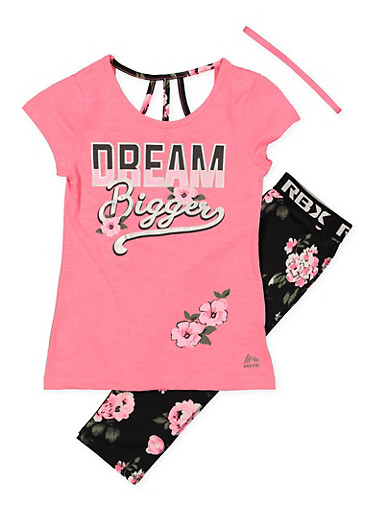 Girls 7-16 Dream Tee with Active Leggings and Headband,FUCHSIA,large