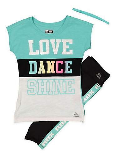 Girls 7-16 Dance Top with Active Leggings and Headband,MINT,large
