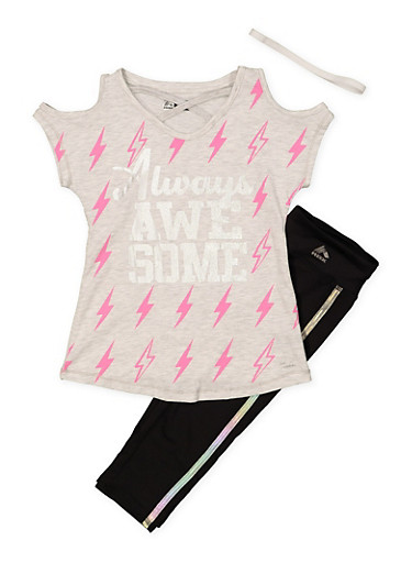Girls 7-16 Always Awesome Activewear Tee with Leggings and Headband,BLACK,large