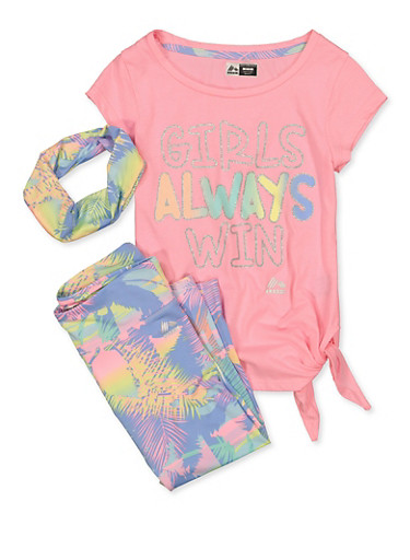 Girls 7-16 Girls Always Win Tee and Printed Leggings,PINK,large