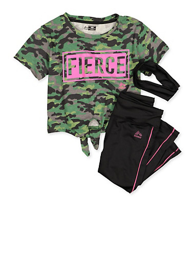 Girls 7-16 Fierce Camo Top with Leggings and Head Wrap,OLIVE,large