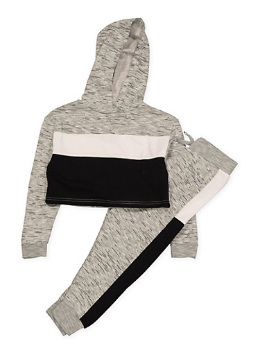 Girls 7-16 Color Block Sweatshirt and Joggers Set | Black,BLACK,large