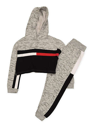 Girls 7-16 Marled Color Block Cropped Sweatshirt and Joggers Set,HEATHER,large