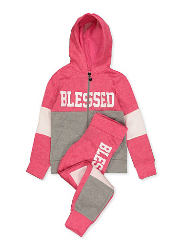 Girls 7-16 Blessed Color Block Sweatshirt and Joggers,FUCHSIA,large
