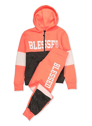 Girls 7-16 Blessed Color Block Zip Sweatshirt and Joggers,CORAL,large