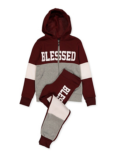 Girls 7-16 Blessed Graphic Sweatshirt and Joggers,WINE,large