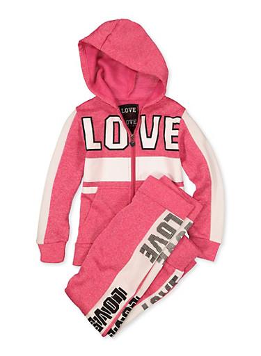 Girls 7-16 Love Zip Sweatshirt with Joggers,FUCHSIA,large