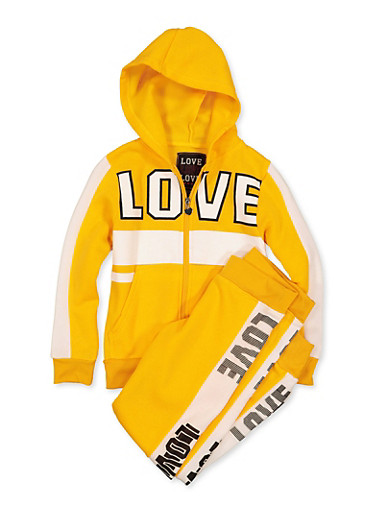 Girls 7-16 Zip Love Sweatshirt and Joggers Set,MUSTARD,large