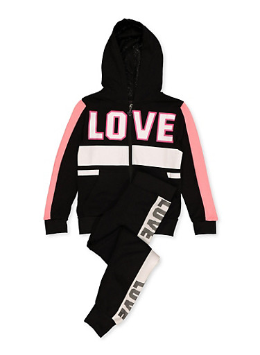Girls 7-16 Love Graphic Zip Sweatshirt and Joggers,BLACK,large