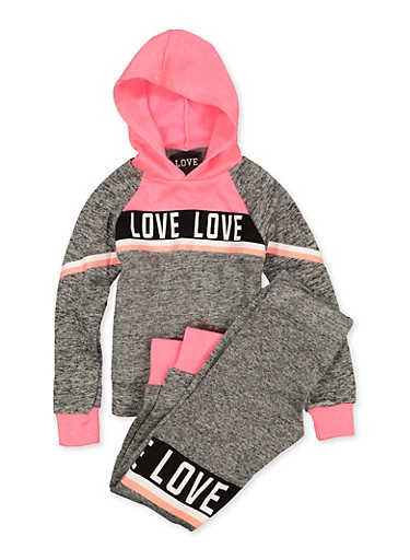Girls 7-16 Love Pullover Sweatshirt with Joggers,GRAY,large