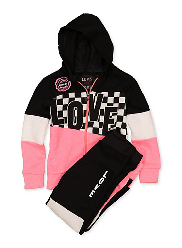 Girls 7-16 Checkered Love Sweatshirt and Joggers Set,CORAL,large
