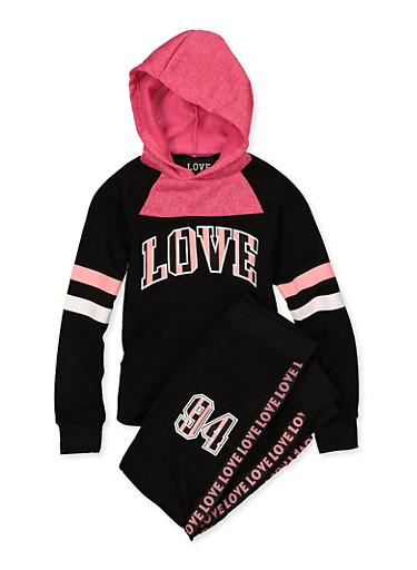 Girls 7-16 Pullover Love Sweatshirt and Joggers Set,BLACK,large