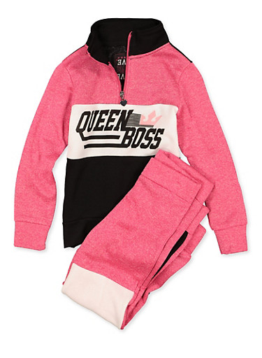 Girls 7-16 Queen Boss Sweatshirt and Joggers | 1608063400060,FUCHSIA,large