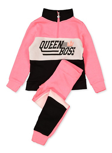 Girls 7-16 Queen Boss Sweatshirt and Joggers,CORAL,large