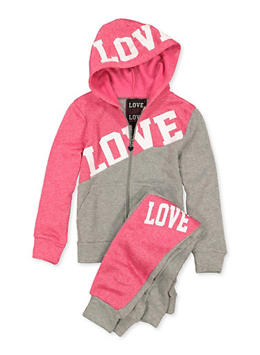 Girls 7-16 Zip Front Love Sweatshirt and Joggers,HEATHER,large
