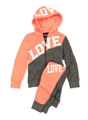 Girls 7-16 Color Block Sweatshirt and Love Joggers,CHARCOAL,large