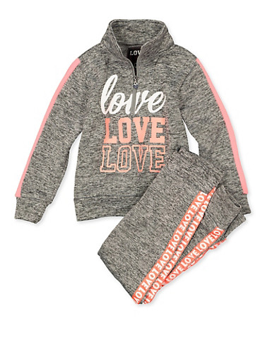 Girls 7-16 Zip Neck Love Sweatshirt and Joggers,GRAY,large