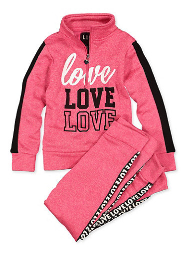 Girls 7-16 Love Graphic Zip Neck Sweatshirt and Joggers,FUCHSIA,large