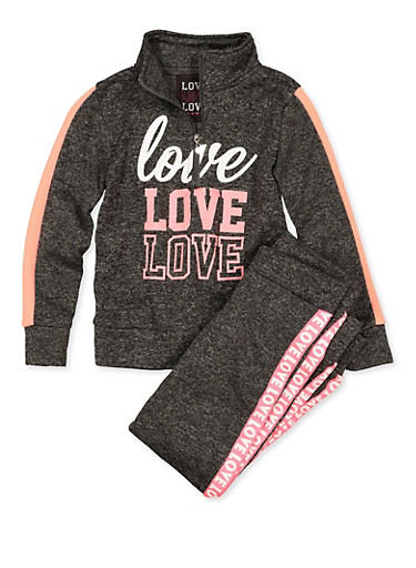Girls 7-16 Love Half Zip Sweatshirt and Joggers,CHARCOAL,large