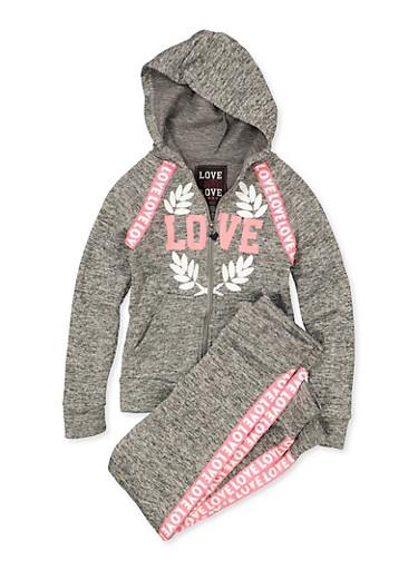 Girls 7-16 Love Zip Front Sweatshirt and Joggers | 1608063400068,GRAY,large
