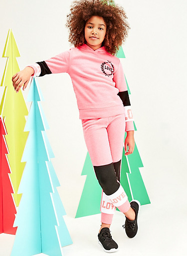 Girls 7-16 Color Block Love Pullover Sweatshirt and Joggers,CORAL,large