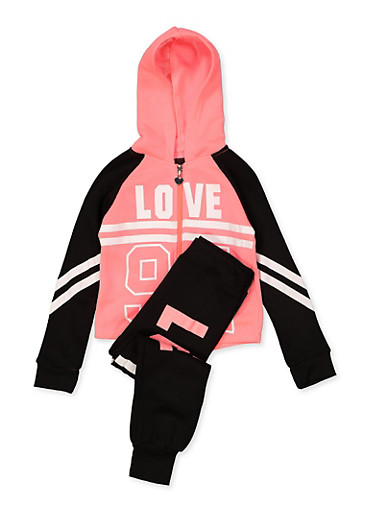 Girls 7-16 Love 94 Sweatshirt with Joggers,FUCHSIA,large