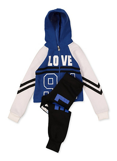 Girls 7-16 Color Block Love 94 Sweatshirt with Joggers,RYL BLUE,large