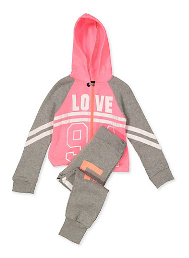 Girls 7-16 Love 94 Sweatshirt and Joggers Set,CORAL,large